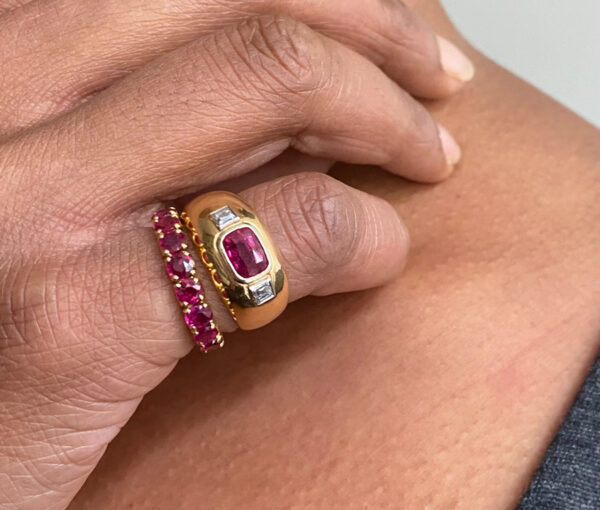 Vintage French Ruby and Diamond Three Stone Dress Ring in 18ct Yellow Gold, 1.68 carats, unheated