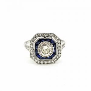 Sapphire and Diamond Cluster Target Ring in 18ct Gold, 0.80 carats