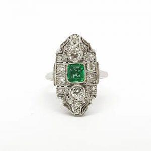 Art Deco Emerald and Diamond Cluster Plaque Ring