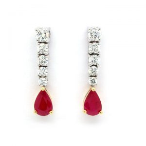 Pear Cut Ruby and Diamond Drop Earrings in 18ct Gold, 0.97 carats