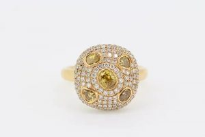 Contemporary Yellow and White Diamond Bombe Cluster Ring