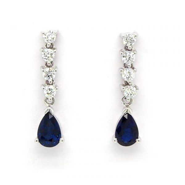 Pear Cut Sapphire and Diamond Long Drop Earrings in 18ct White Gold