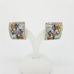 Multi Gemstone Tutti Frutti Diamond Earrings in 18ct White Gold