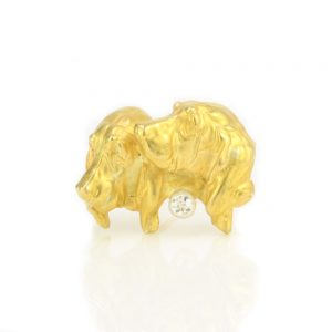 Antique 18ct Gold Basset Hound Dog Brooch with Old Cut Diamond
