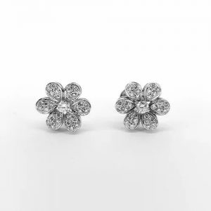Diamond Daisy Flower Cluster Stud Earrings, 1.50 carats