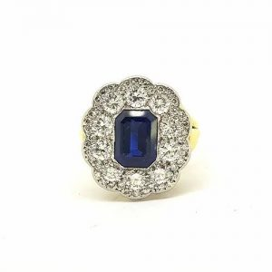 Emerald Cut Sapphire and Diamond Floral Cluster Ring in 18ct Gold