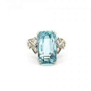 Vintage Emerald Cut Aquamarine and Diamond Ring, Circa 1950s