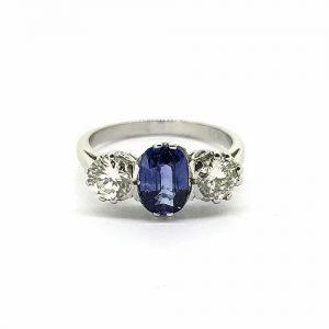 Sapphire and Diamond Three Stone Ring in Platinum, 1.40 carats