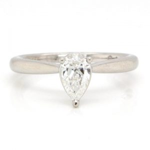Pear Cut Diamond Solitaire Ring in Platinum, 0.50 carats F SI1, Certified