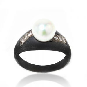 March and Co Vintage Pearl, Diamond and Gun Metal Ring, Circa 1930s