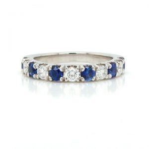 Sapphire and Diamond Half Eternity Ring in Platinum