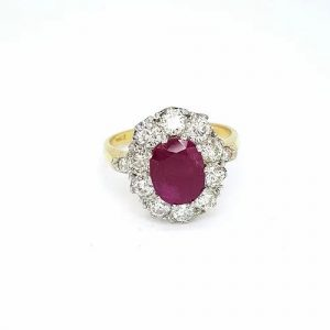 Ruby and Diamond Oval Cluster Ring, 2.30 carats