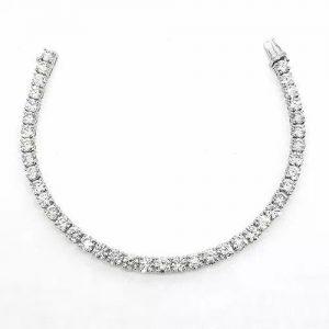 Diamond Line Bracelet in 18ct White Gold, 12.30 carat total