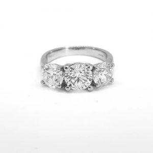 Three Stone Diamond Ring in Platinum, 3.36 carat total