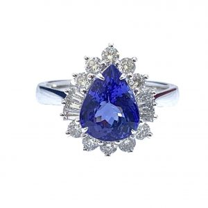 Pear Cut Tanzanite and Diamond Cluster Ring in 18ct Gold, 2.69 carats