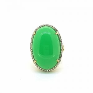 Oval Cabochon Chalcedony and Diamond Cluster Ring in 14ct Gold