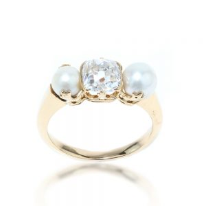 Antique Victorian Old Cushion Cut Diamond and Pearl Three Stone Ring