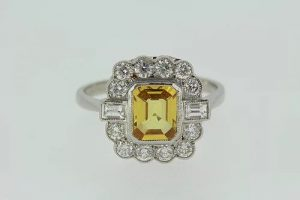 Yellow Sapphire and Diamond Floral Cluster Ring, 1.75 carats