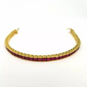 French Cut Ruby Line Bracelet in 14ct Gold, 10.00 carat total