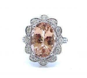 Morganite and Diamond Oval Cluster Ring in 18ct White Gold, 6.55 carats