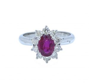 Mozambique Ruby and Diamond Oval Cluster Ring, 1.11 carats, No heat