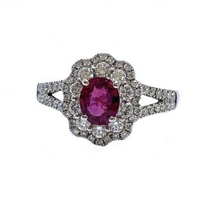 Ruby and Diamond Oval Cluster Dress Ring in 18ct Gold, 0.99 carats