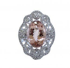 David Jerome Oval Cut Morganite and Diamond Dress Ring in 18ct Gold, 6.35 carats
