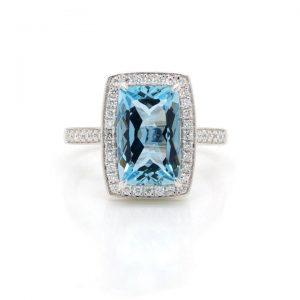 Aquamarine and Diamond Cushion Shaped Cluster Ring, 2.63 carats