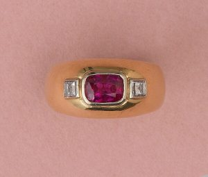 Vintage French Ruby and Diamond Three Stone Dress Ring, Unheated