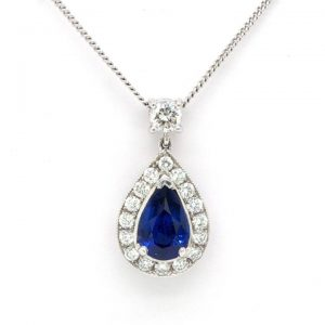 1.48ct Sapphire and Diamond Pear Shaped Drop Pendant 18ct White Gold