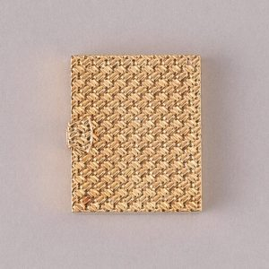 Van Cleef and Arpels Vintage 18ct Yellow Gold Photo Frame, geometric textured design, can hold four photos. Signed and numbered VCA NY 20 V-8