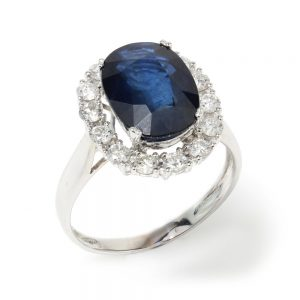 Vintage 1970s Sapphire and Diamond Oval Cluster Ring, 3.50 carats