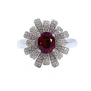 Burmese Ruby and Diamond Flower Cluster Dress Ring, 1.28 carats