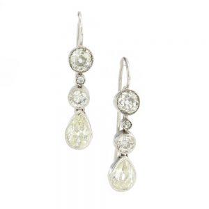 Antique Edwardian Old Cut Diamond Drop Earrings in Platinum
