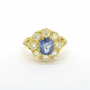 Sapphire and Old Cut Diamond Cluster Ring in 18ct Yellow Gold, 1.30cts