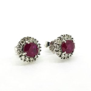 Ruby and Diamond Oval Cluster Stud Earrings, 2.15 carats