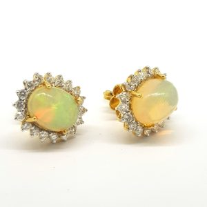 Opal and Diamond Oval Cluster Stud Earrings, 2.37 carats