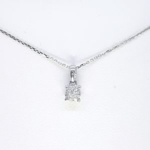 Diamond Cluster Pendant and White Gold Chain