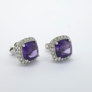 Amethyst and Diamond Cluster Stud Earrings, 3.78 carats