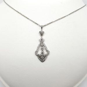 Art Deco Style Diamond Drop Pendant, 0.60 carats