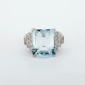 Art Deco Style Aquamarine and Diamond Dress Ring, 5.50 carats
