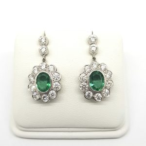 Emerald and Diamond Floral Cluster Drop Earrings, 3.03 carats