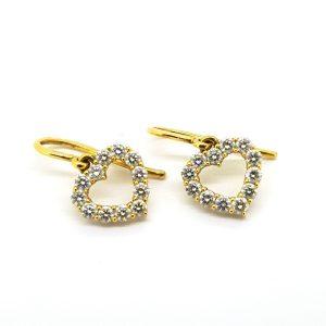 Diamond Open Heart Drop Earrings in 14ct Yellow Gold, 0.50 carats