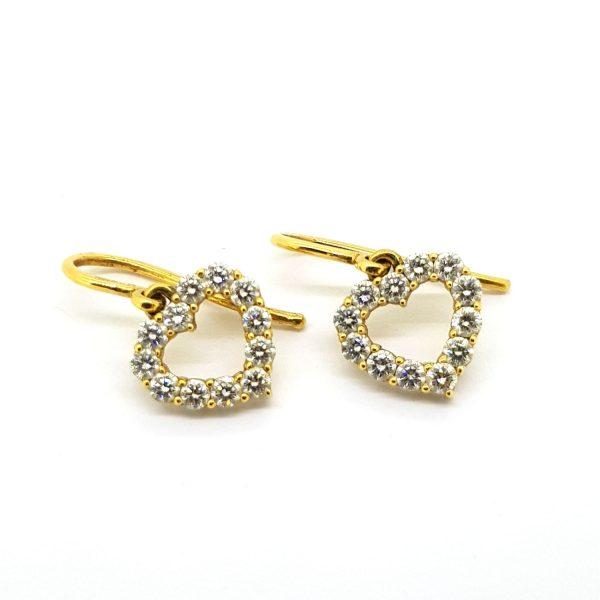 0.50ct Diamond Open Heart Drop Earrings in 14ct Yellow Gold