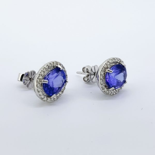 Tanzanite and Diamond Oval Cluster Earrings in 18ct White Gold, 4.58 carats