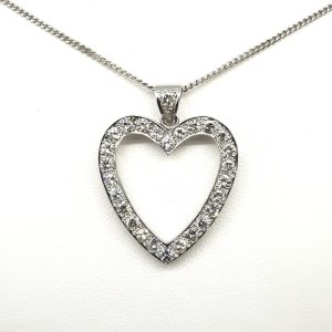 Diamond Set Heart Pendant and Chain in 18ct White Gold