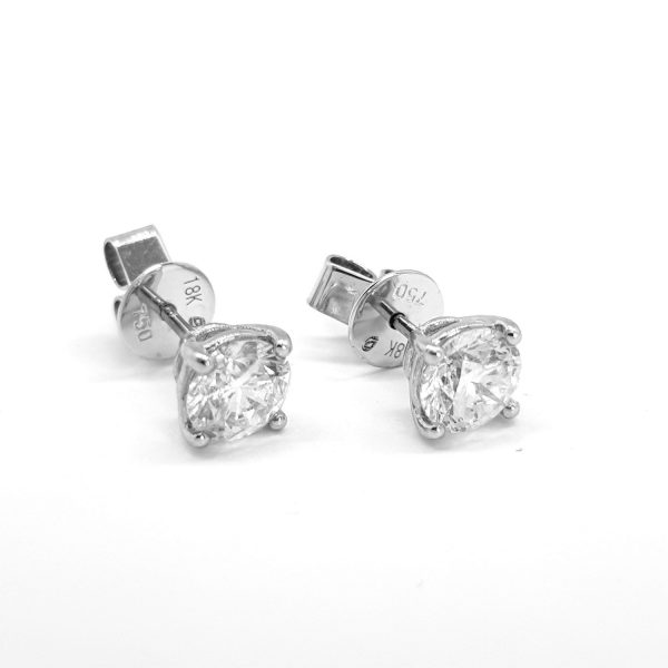 Diamond Stud Earrings in 18ct White Gold, 1.26 carat total, G colour