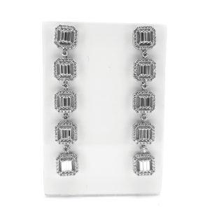 Contemporary Baguette Cut Diamond Cluster Drop Earrings, 4.50 carats