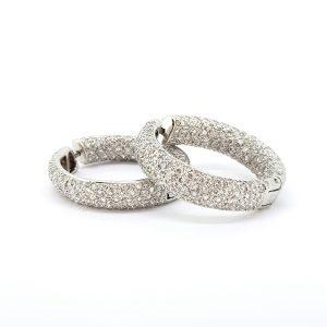 Large Diamond Hoop Earrings, 5.00 carat total