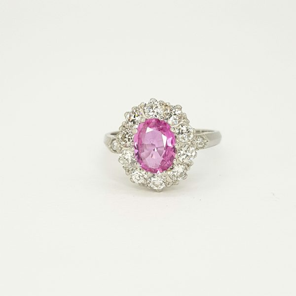Edwardian Style 1.40ct Pink Sapphire and Diamond Cluster Ring in Platinum